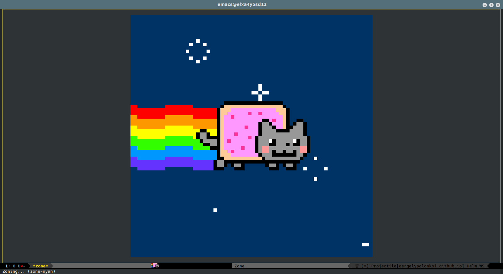 a text-based animation with Nyan cat